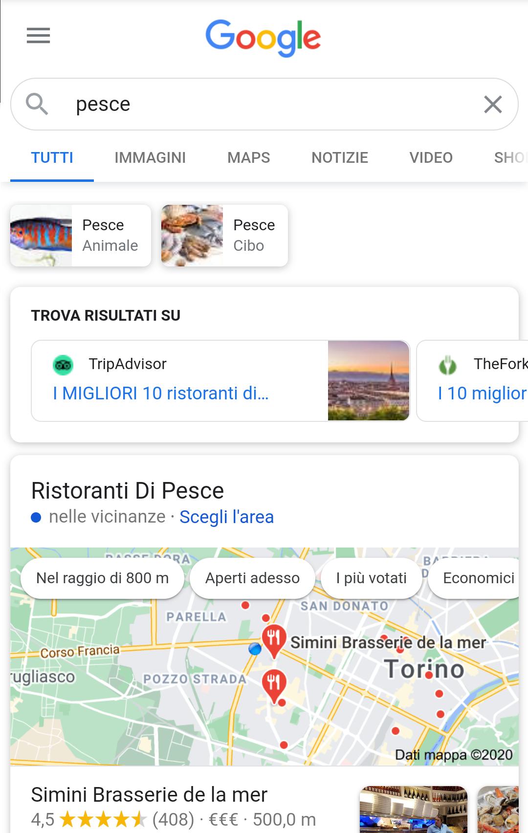 Ricerca keyword pesce mobile